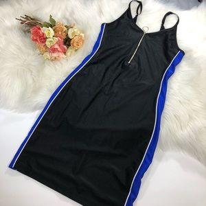 Black Blue Stripe Bodycon Dress